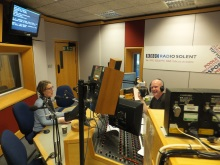 Pauline Rowson and Julian Clegg on air BBC Radio Solent March 15