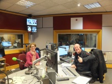 Pauline Rowson and Julian Clegg BC Radio Solent, ready to go on air