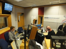 Pauline Rowson waiting to go on air BBC Radio Solent with Julian Clegg January 2016