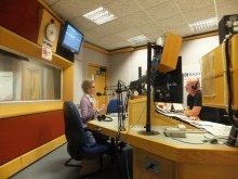 Pauline Rowson on air in the BBC Radio Solent studio with Julian Clegg 6 July 2015