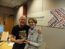 Pauline Rowson with Julian Clegg in BBC Radio Solent studio June 2016