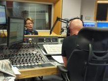 Pauline Rowson in the studio with Julian Clegg BBC Radio Solent