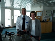 Pauline Rowson on the Bridge of Wightlink St Clare with Cpt. Paul Marshallin