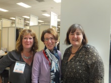 Pauline Rowson centre with Kate Lyall Grant and Michelle Duff of Severn House Publishers