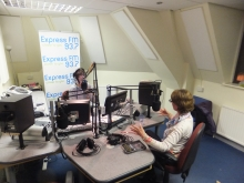 Pauline Rowson in the Express FM Studio