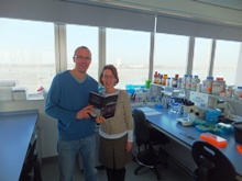 Pauline Rowson and Dr Gordon Watson in a lab featured in DI Horton Mystery Undercurrent