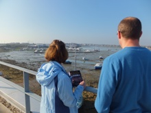 Pauline Rowson and Dr Gordon Watson looking out to Southsea Marina, home to DI Andy Horton