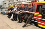 Pauline Rowson with previous members of Red Watch Southsea