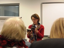 Pauline Rowson giving a reading at Newcastle City Library