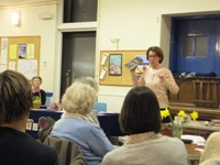 Pauline Rowson talking about her crime novels at the WI meeting 13 Marh 2013