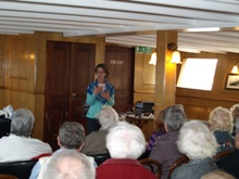 Pauline Rowson talking to audience onboard PSS Wingfield 2010ing