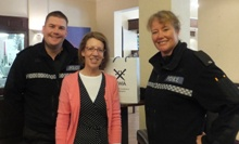 Pauline Rowson with PCs Matt Gransden and Kerry Murray