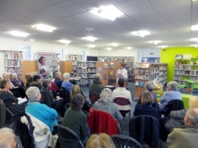Pauline Rowson talking about her crime novels to the audience at Sandhurst Library