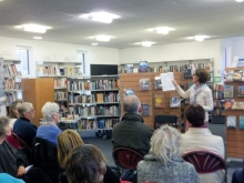 Pauline Rowson explaining how she writes her crime novels to the audience at Sandhurst Library