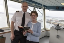 Captain Leake and Pauline Rowson on the Bridge