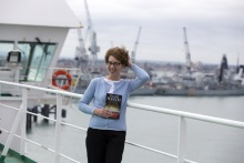 Pauline Rowson windswept on board Condor Ferry launching DI Andy Horton, Lethal Waves