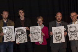 Keynote speakers at Creative Portsmouth with their caricatures