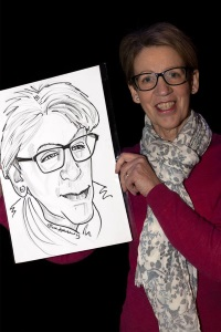 Pauline Rowson with caricature