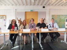 The afternoon panel at CSI Portsmouth: crime authors Natasha Cooper, Sharon Bolton with crime author and panel moderator Pauline Rowson and crime experts, Sergeant Tony Birr and Brian Chappell