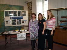 Crime author, Pauline Rowson with Emma Bright and Heather Foster Hants. Police Fingerprint Team at CSI Portsmouth 2013