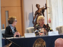 Crime author MC Beaton answering a question put by crime author Pauline Rowson at CSI Portsmouth 2014