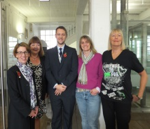 Crime authors Pauline Rowson, Jessie Keane with Roger Wood and Mandy Horsburgh Hants, Police, and crime author Hilary Bonner, CSI Portsmouth 2014