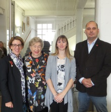 Crime authors Pauline Rowson and MC Beaton with Dr Katherine Brown, ICJS, Forensic Entomologist Portsmouth University and Terrence Napier, Hampshire Police