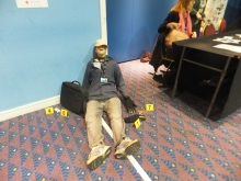 Victor the victim and the crime scene at CSI Portsmouth 2016 looking the worse for wear