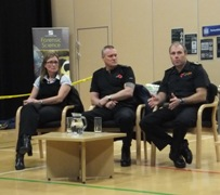 Carolyn Lovell, Crime Scene Manager, Terry Fitzjohn Fire Investigation Officer, Andy Earl, Arson Task Force HFRS