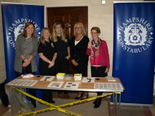 Pauline Rowson right with Hampshire Fingerprint team, Jane Aston, Fingerprint Bureau Supervisor and Carolyn Lovell, head of Crime Scene Investigation Hants. Police, CSI Southampton Oct 15