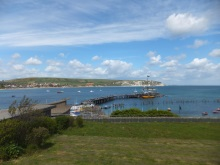Swanage Bay where Marvik anchors up in Dangerous Cargo