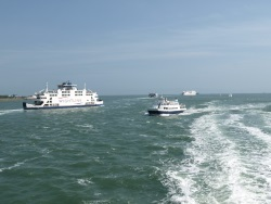 Wightlink ferry and activity on the Solent