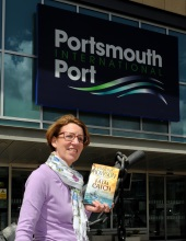 Pauline Rowson at Portsmouth International Port on launch of Fatal Catch