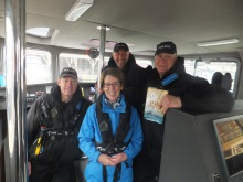 Pauline Rowson with Hants. Marine Police on board Preventer Portsmouth Harbour