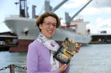 Pauline Rowson with Art Marvik crime novel, Dangerous Cargo