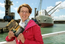Pauline Rowson, with Dangerous Cargo and Geest Line's MV Benguela Stream at Portsmouth International Port