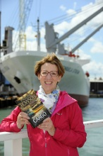 Pauline Rowson with Art Marvik crime novel Dangerous Cargo