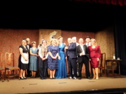 Pauline Rowson with the cast and crew of Murder at the Pelican Club