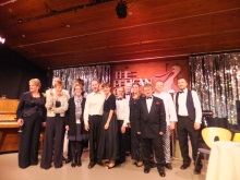 The cast, crew and muscians of Act One Drama and Murder at the Pelican Club, with writer, Pauline Rowson