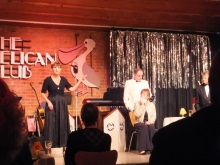 Some of the cast of Act One Drama peforming Murder at the Pelican Club by Pauline Rowsonm