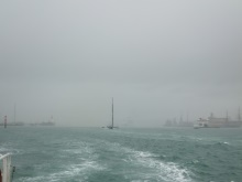 A rain soaked day on the Solent heading out of Portsmouth Harbour