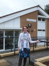 Pauline Rowson outside Abertridwr Library, South Wales