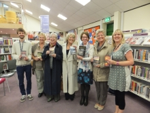 Pauline Rowson with some of the ladies (and Lawrence) at Abertridwr Library