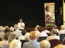 Pauline Rowson explaining how she writes her crime novels to Hamble U3A