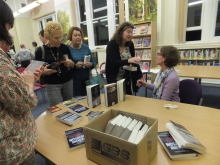Pauline Rowson chatting to readers at Neath Library