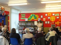 Pauline Rowson talking at Throston Grange Library April 2013