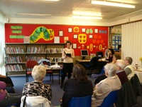Pauline Rowson reading from DI Horton Crime Novel at Throston Grange Library, Hartlepool