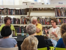 Pauline Rowson talking about DI Andy Horton at Crime Panel Event, Waterlooville Library