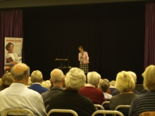 Pauline Rowson talking to the audience at Fleet about how she writes her crime novels