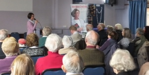 Pauline Rowson explaining how she writes her DI Horton crime novels to National Trust Volunteers